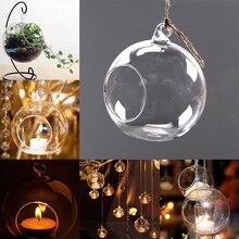 Прозрачный стеклянный круглый подвесной светильник-подсвечник для дома-6 см/8 см/10 см/12 см