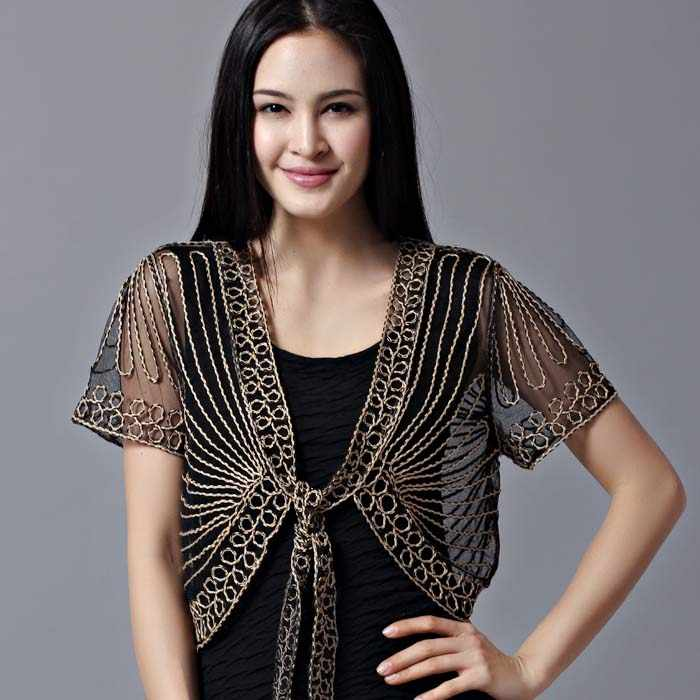 Free shipping All match short sleeve handmade crochet lacing women's shrug small cape cutout cardigan sweater