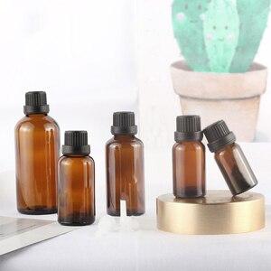 Image 2 - 5 100ML Großen Kopf Bernstein Braun Glas Drop Flasche Aromatherapie Flüssigkeit für ätherisches grundlegende massage öl Pipette Flaschen nachfüllbar