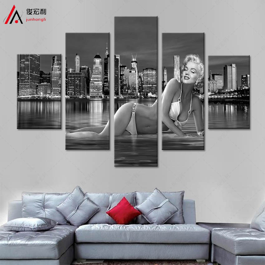 5 Panel Marilyn Monroe Painting Home Living Room Decoration Canvas Print Painting Large Canvas Art Unframed
