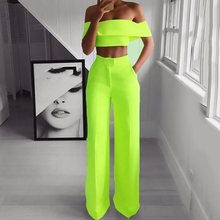 Summer Sexy Club Hip Hop Plus Size African Women Off Shoulder Shirt Long Pants Plain Falbala Female Two Piece Set Suit 5 Colors