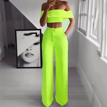 Summer Sexy Club Hip Hop Plus Size African Women Off Shoulder Shirt Long Pants Plain Falbala Female Two Piece Set Suit 5 Colors(China)