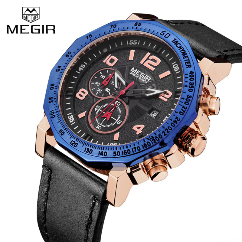 цена на Watches Men MEGIR Brand Sport Watch Fashion Leather Strap Chronograph Quartz Military Watches Clock For Man Relogio Masculino