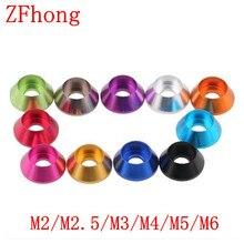 5-10 шт./лот алюминиевая крышка шайба m2 m2.5 M3 M4 M5 M6 многоцветная алюминиевая шайба для шестигранной головки