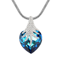 Ocean Blue Crystal Heart Of The Sea Pendant Necklace Made With Swarovski Elements Love Accessories For