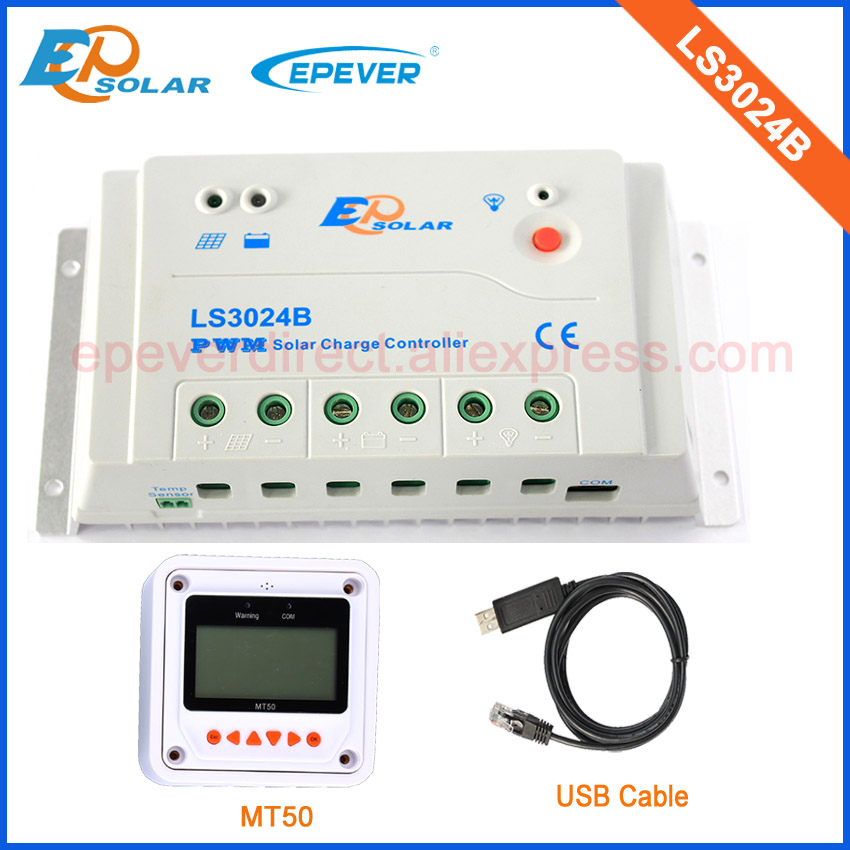 EPSolar factory direct original products LS3024B with USB cable and MT50 remote meter 12v/24v 30A 30ampEPSolar factory direct original products LS3024B with USB cable and MT50 remote meter 12v/24v 30A 30amp