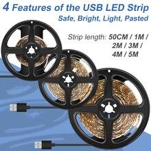 Led Strip Light DC 5V USB Cable Lamp SMD 2835 Flexible Tape Ribbon 1M 2M 3M 4M 5M Waterproof Kitchen Cabinet