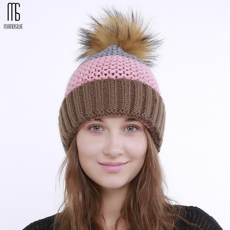Women autumn winter hat knitting ponytail bonnet Fashion Heap caps warm Plus cashmere pompon Big hair ball Stitching knitting