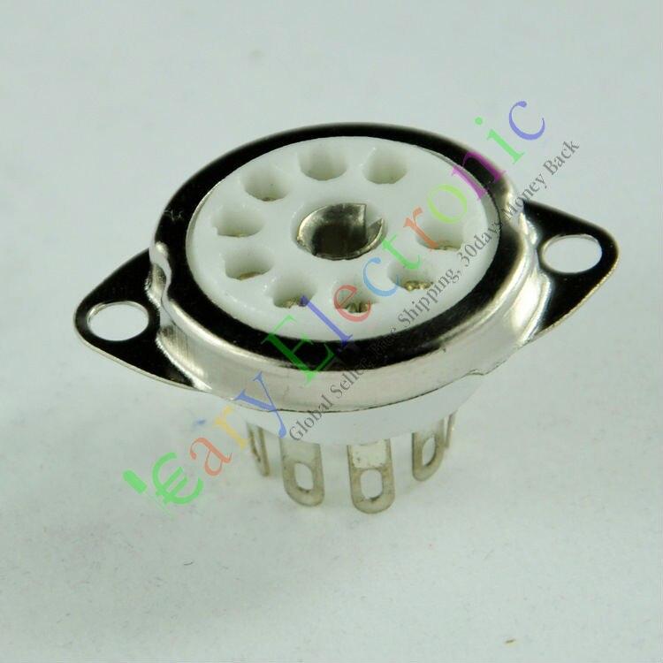 Wholesale And Retail 4pc 9pin Ceramic Vacuum Tube Socket Top Mount Valve For 12AX7 12AU7 ECC82 ECC83 Free Shipping