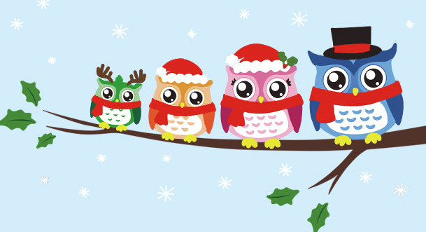 cartoon christmas owl cosplay wall sticker baby child decals cute owls festival wall stickers for kids room home decor in wall stickers from home garden - Owl Christmas