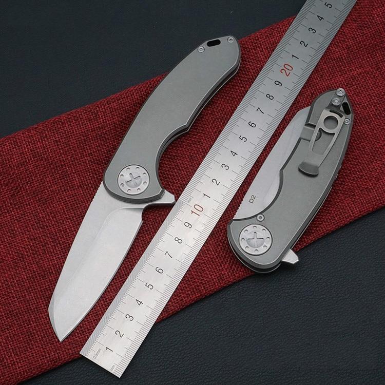 Outdoor TC4 titanium alloy folding knife D2 high hardness 58 59HRC self defense multifunctional ball bearing survival knife