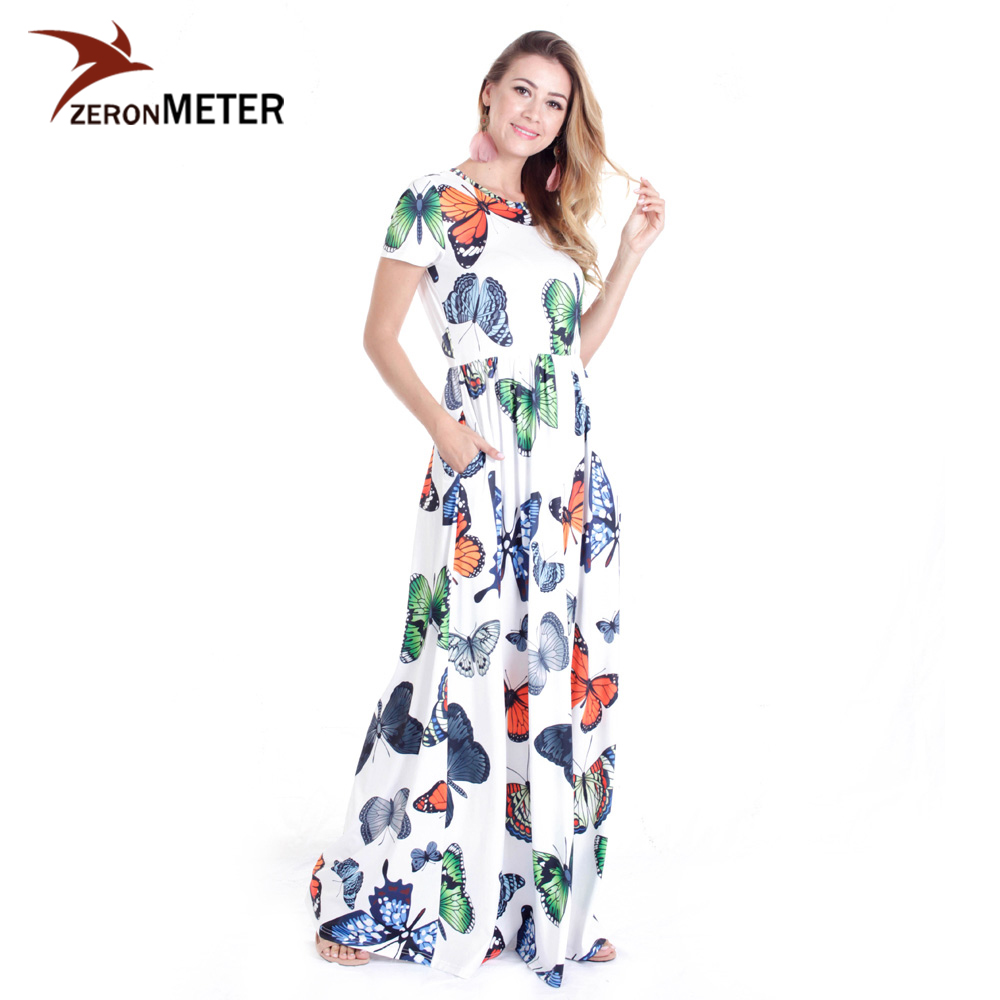 Elegant Casual Summer Butterflies Printed Dress Maxi Flared Long Beach Desses Pockets Women Sundress 2018 Vestidos Female Robe