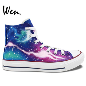 Wen Original Hand Painted Sneakers Colorful Galaxy Nebula Starlight Woman Man's High Top Canvas Shoes