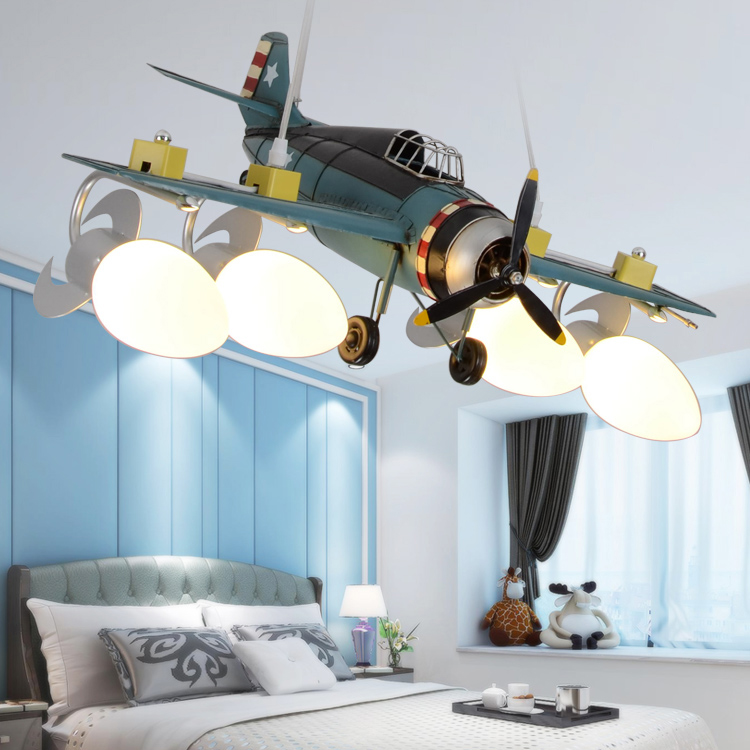 Modern airplane pendant light fixture creative LED lamp for kid room boy children bedroom hanging lamp simple lron lights E27 image