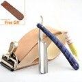 3 Unids/set Clásica Peluquería Straight Razor Plegable de Afeitar Cuchillo Cuero Strop GDL300 W/Pega W0.5