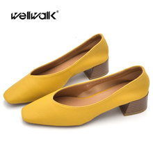 Classic Pumps Women Heels Shoes Solid Color Leather PU Square To Block Heel Ladies Autumn Moccasins office & Career Footwear fashion women s pumps with pu leather and color block design