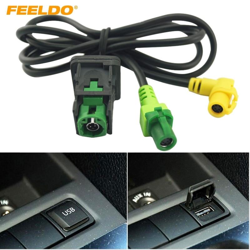 FEELDO Car OEM RCD510 RNS315 USB Cable With Switch For VW Golf MK5 MK6 VI 5 6 Jetta CC Tiguan Passat B6 Armrest Position #FD1698(China)