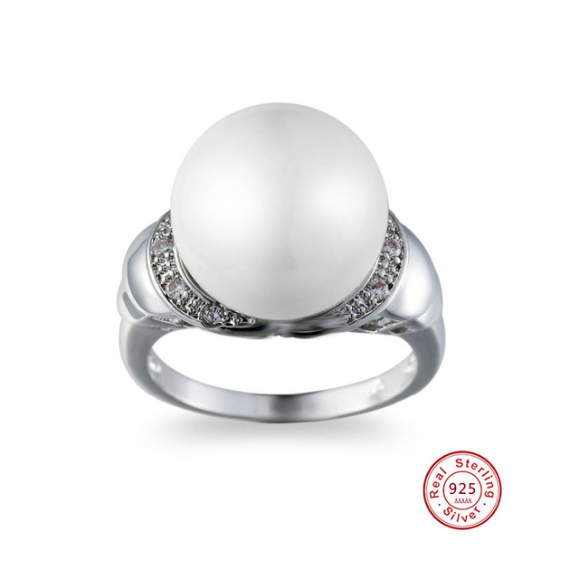 100% Genuine White Pearl Ring Elegant silver Ring for women Fashion 925 sterling