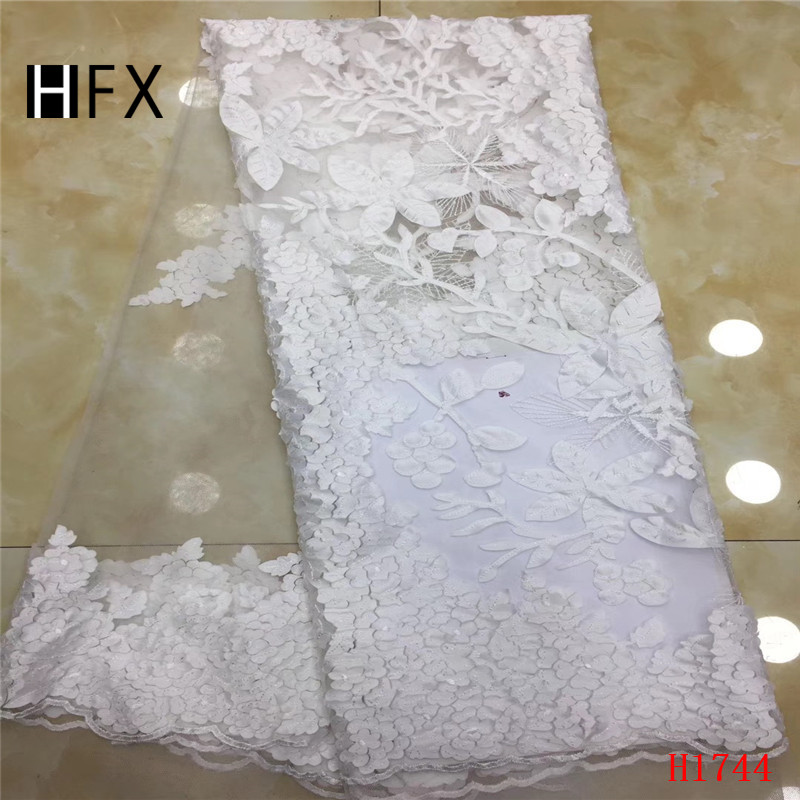 HFX White Nigeria Embroidered African Lace 2019 High Quality Wedding Dress Tulle Lace 5 Yards Net Lace Fabric for Lady X1744HFX White Nigeria Embroidered African Lace 2019 High Quality Wedding Dress Tulle Lace 5 Yards Net Lace Fabric for Lady X1744