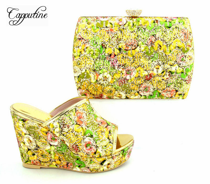 Capputine Italian Design Rhinestone Shoes And Bag Set Africa Fashion High Heels Shoes And Bag For Wedding Party Free Shipping capputine high quality crystal super high heels shoes and bag set italian style woman shoes and bag set for wedding party g33