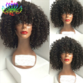 7a heat resistant short curly synthetic wigs with bangs glueless black afro kinky curly synthetic lace front wig for white women