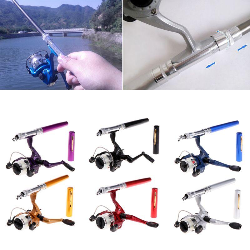 Mini Fishing Reel Portable Aluminum Saltwater Baitcasting Rod Pole Pocket Pen