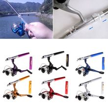 Mini Fishing Reel Portable Aluminum Saltwater Baitcasting Fishing Rod Pole Reel Pocket Pen new mini portable pocket fish pen aluminum alloy rod of fishing pole reel combos lightweight ice rods reel fishing kits