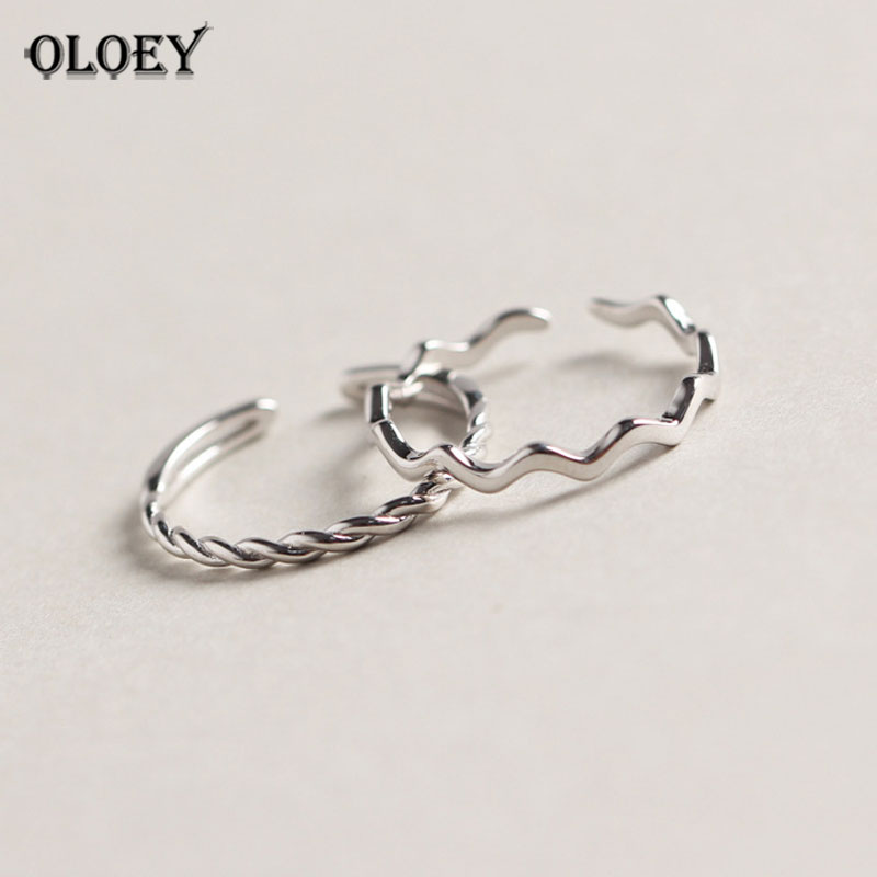 OLOEY Pure 100% 925 Sterling Silver Wave Open Rings For Women Personality Simple Style Lady Prevent Allergy Fine Jewelry YMR752