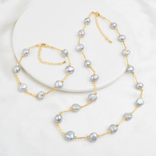 ASHIQI Natural Freshwater Pearl Jewelry Set Necklace Bracelet for Women NE+BR(China)