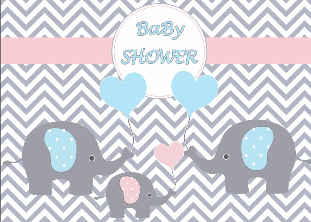 7x5ft Pink Chevron Wall Blue Pink Elephant Baby Shower
