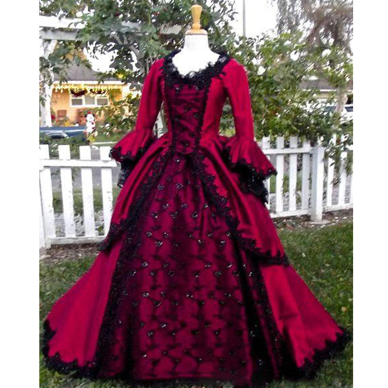 785d1b2b938 Gothic Sleeping Beauty Princess Medieval Red and Black Wedding Dress Ball  Gown Long Sleeve Lace Embroidery Victorian Bridal Gown-in Wedding Dresses  from ...