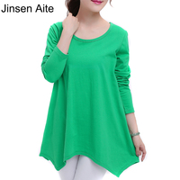 New Fashion Plus Size S 4XL Women Clothing 100 Cotton T Shirt Long Sleeve Loose Irregular