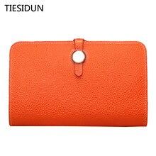 Luxury Genuine 2017 Female Designer Famous Brand Women Clutch Wallet Ladies Leather Purse Money Bag tiesidun