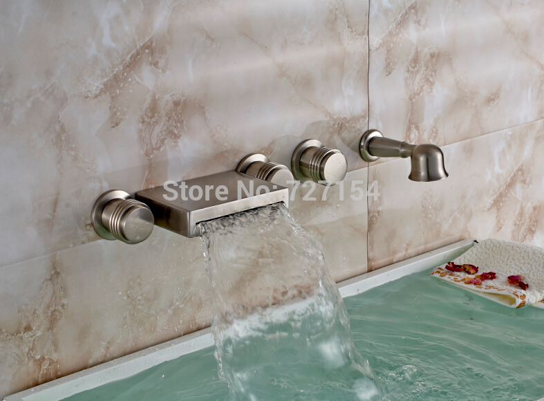 New Wall Mounted Nickel Brushed Waterfall Bathtub Faucet 3 Handle W/ Hand Shower
