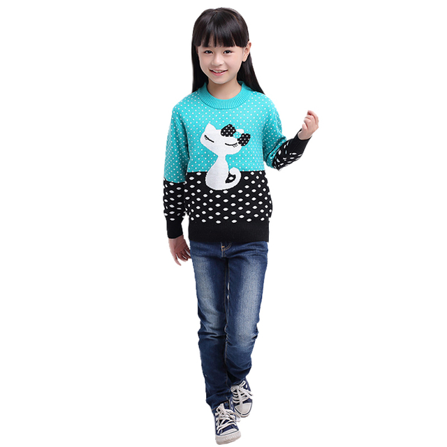 Casual Warm Kintted Sweaters Pullover With Animal Pattern And Dots Pull Fille O-Neck Baby Girl Clothes Wool Sweater For Girls