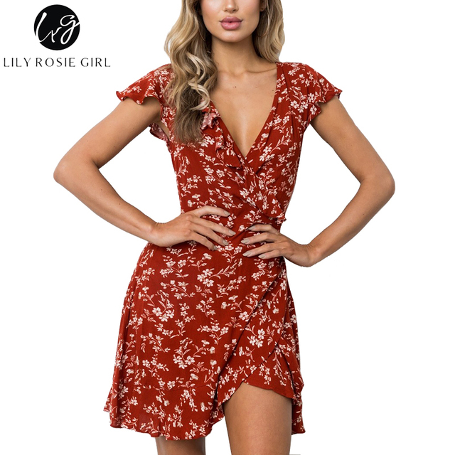 8c4261c98dce Lily Rosie Girl Red Ruffles Floral Print Women Mini Dresses 2018 Summer  Beach Wrap Dress Sexy V Neck Short Sleeve Lady Vestidos