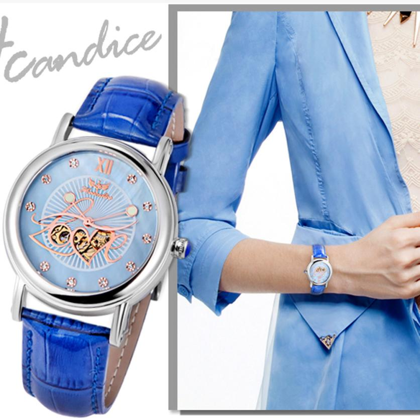 2017 Dignity 1PC Women Fashion PU Leather Band Mechanical Watch Wrist Watches JUN 8