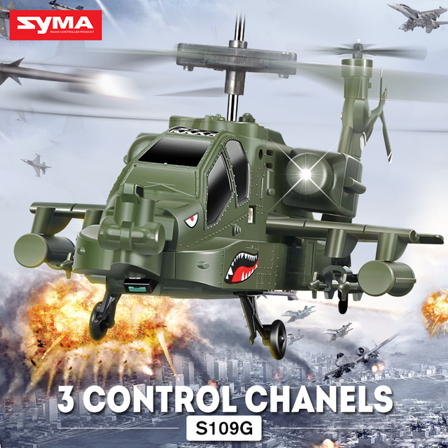 SYMA S109G Apache Simulation Military RC Helicopter Combat Aircraft With Night Light Remote Control Drone Kid