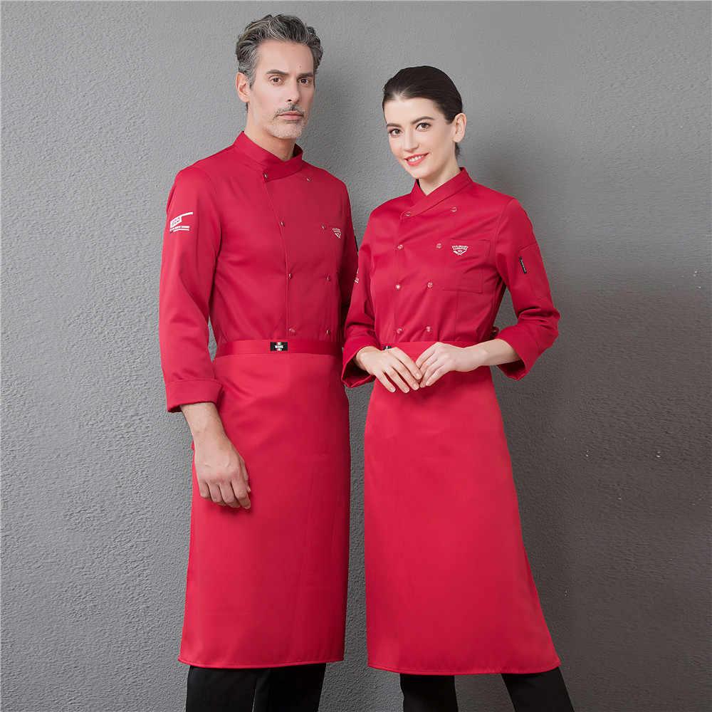 男性プロのシェフレストランユニフォーム刺繍ダブルブレスト長袖料理ケータリング Cocina のキッチン調理ワークジャケット