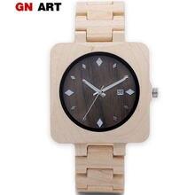 9ae416c04333 GNART mens square reloj de madera reloj del deporte del cuarzo de madera  relojes para hombres de lujo diseñador ocasional