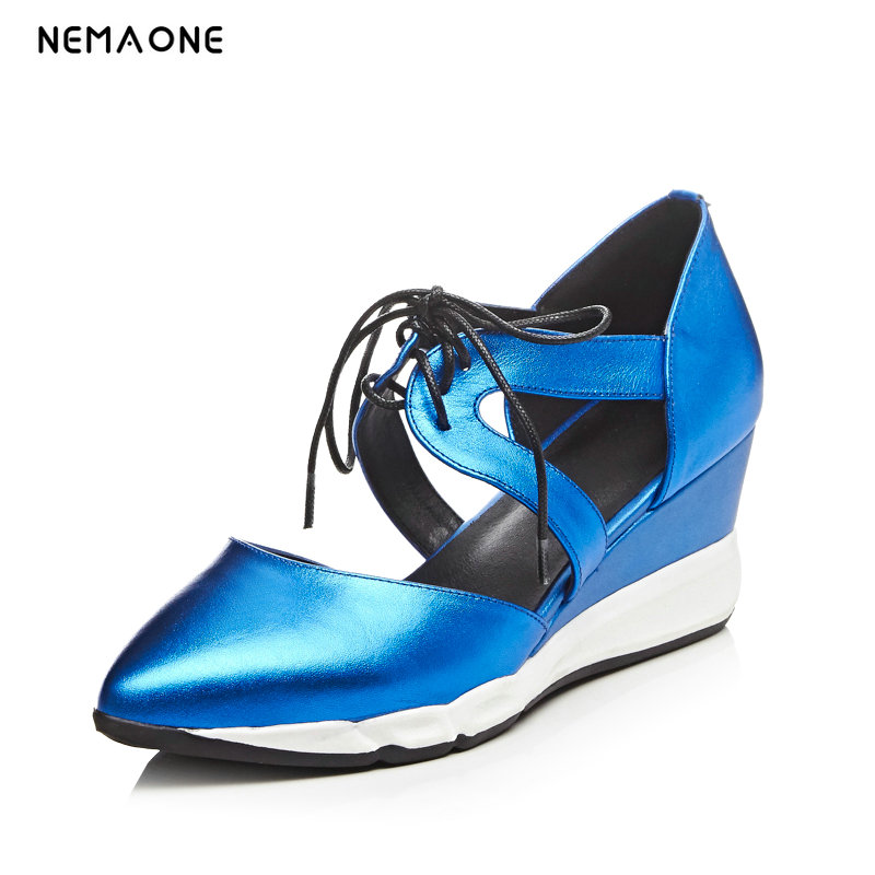 NEMAONE 2018 New Arrival Strange Style Heels Sandals Women Genuine Leather Summer Fashion Ankle Strap High Heel Sandals 2017 new arrival abnormal jeweled heels rhinestone crystal embellished high heel sandals ankle strap lock summer party shoes