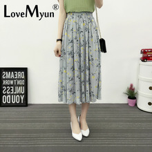 2017 The Spring Summer. Small Fresh Chiffon Long Half-body Pleated midi lace Skirt high waisted girls tulle skirts women