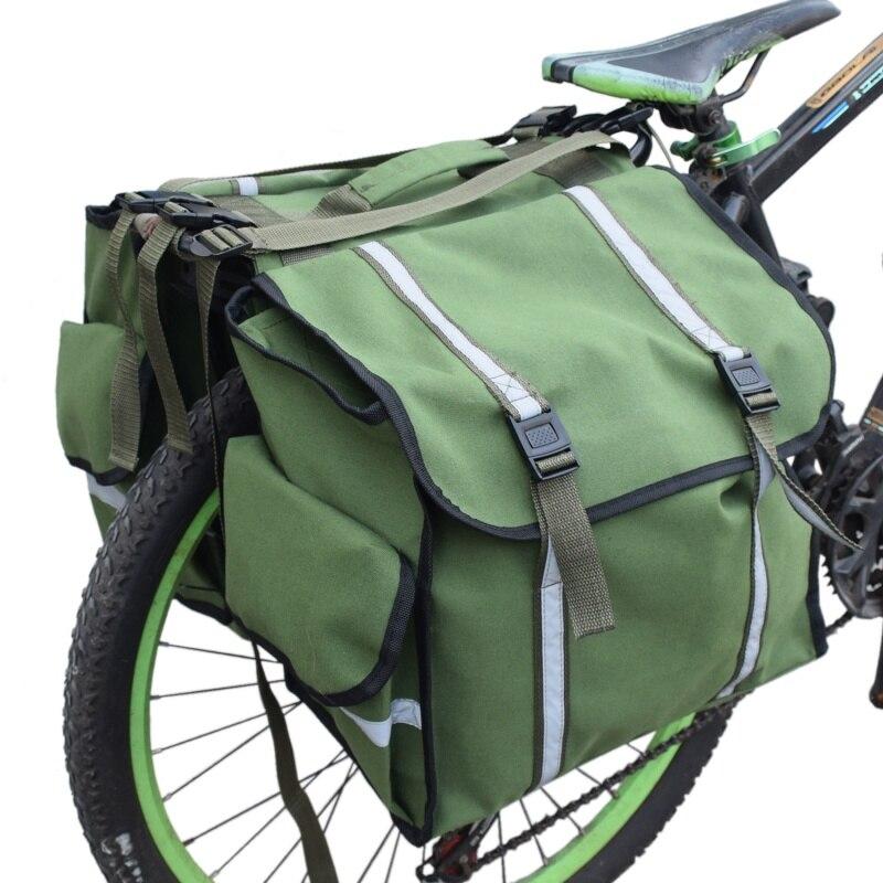 2019 plein air vtt sacs de vélo étanche toile cyclisme Double côté arrière Rack queue siège sacoche accessoires vélo sac - 3