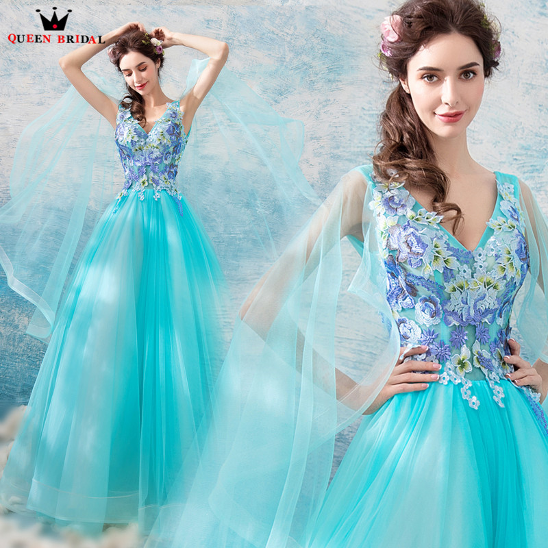 QUEEN BRIDAL   Evening     Dresses   2018 New Design A-line V-neck Flowers Long Formal Blue Elegant   Evening   Gowns Robe De Soiree ZX15