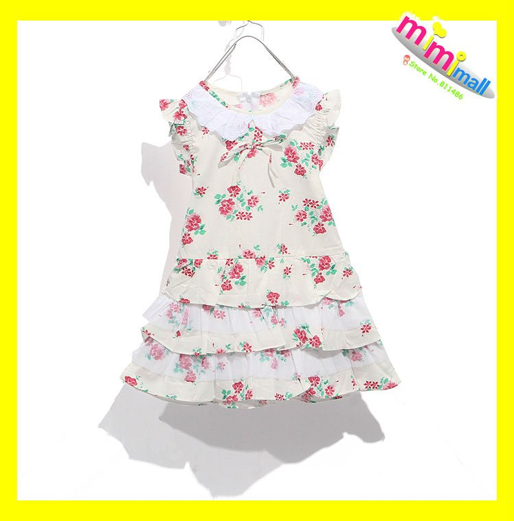 Free ShippingGirl's Red Flower Cute Princess DressChildren Dress Beauteous Children's Clothing Patterns