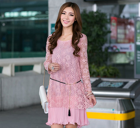 All-Match 2014 Autumn Clothing Pus Size Lace Pleated One-piece Dress Faux Two Piece O-neck Solid Color Inner Slip Dress