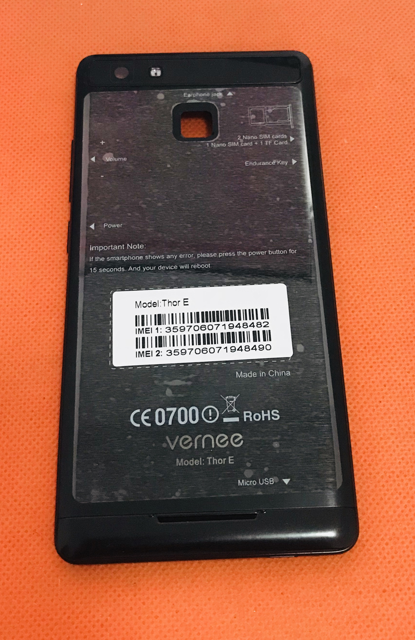 Used Original Back Battery Case Cover+camera Glass Lens For Vernee Thor E MTK6753 Octa Core 5.0