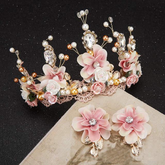 Us 1236 30 Offsüße Rosa Yarb Keramik Blume Handgemachte Perlen Spitze Barock Crown Goldene Hochzeit Haar Kopfschmuck In Haarschmuck Aus Schmuck