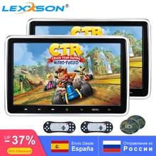 2 Stuks 10.1 Inch Auto Hoofdsteun Tv Monitor Dvd Video 1024X600 Screen Touch Button Game Afstandsbediening Hdmi ir Av Fm Usb Universele