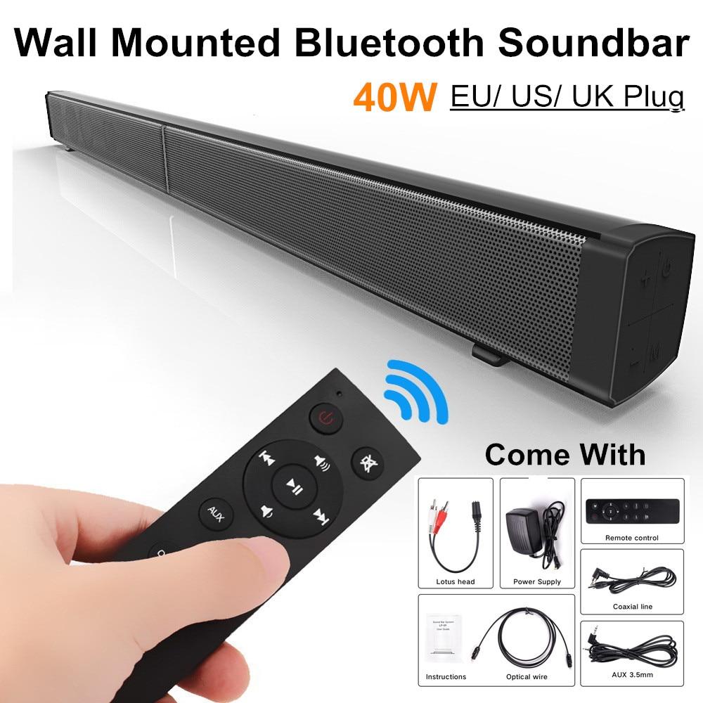 LP-09 Bluetooth Soundbar Speaker 40W 3D HiFi Stereo Ec ho Bass Speaker TF Card Aux Home TV Wall-mounted Soundbar Remote Control cute rabbit 3w bluetooth 2 1 ch speaker w tf remote control white pink